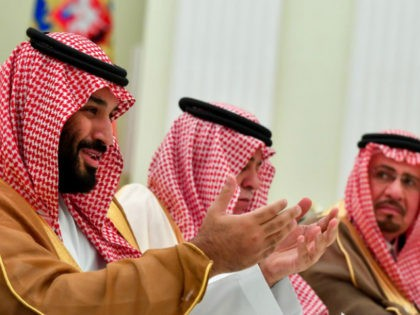 Saudi Crown Prince Mohammed bin Salman (L), pictured June 2018, hosted US President Donald Trump's special envoy Jason Greenblatt and adviser Jared Kushner to discuss humanitarian relief options following explosions in the Gaza Strip