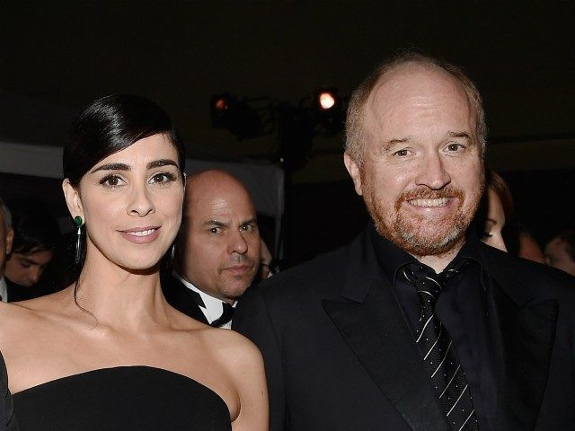 HOLLYWOOD, CA - FEBRUARY 28: (L-R) Michael Sheen and comedians Sarah Silverman and Louis C.K. attend the 88th Annual Academy Awards Governors Ball at Hollywood & Highland Center on February 28, 2016 in Hollywood, California. (Photo by Kevork Djansezian/Getty Images)
