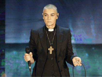 """FILE - In this Oct. 5, 2014 file photo, Irish singer Sinead O'Connor performs during the Italian State RAI TV program """"Che Tempo che Fa"""", in Milan, Italy. 51-year old O'Connor has announced Friday Oct. 26, 2018, that she has converted to Islam and said she has changed her name …"""