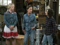 "This image released by ABC shows Lecy Goranson, from left, Laurie Metcalf and Sara Gilbert in a scene from ""The Connors,"" airing Tuesdays on ABC. (Eric McCandless/ABC via AP)"