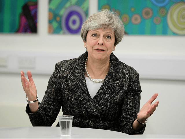 MAIDENHEAD, ENGLAND - APRIL 21: Prime Minster Theresa May talks to students and first-time voters at Cox Green School on April 21, 2017 in Maidenhead, England. In an attempt to gain a larger Brexit mandate the Conservative Prime Minster Theresa May made the shock announcement to hold a snap general …