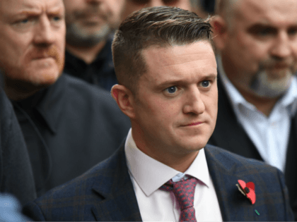 Stephen Yaxley-Lennon, AKA Tommy Robinson, founder and former leader of the anti-Islam English Defence League (EDL), leaves the Old Bailey, London's Central Criminal Court, in central London on October 23, 2018, after a case in which he is charged with contempt of court was referred to the Attorney General. - …