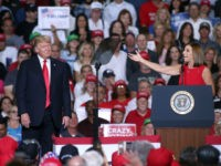 Rep. Martha McSally, R-Ariz, gestures to President Donald Trump during a rally at the International Air Response facility on October 19, 2018 in Mesa, Arizona. McSally is the republican candidate for the U.S. Senate seat to be vacated by Sen. Jeff Flake. President Trump is holding rallies in Arizona, Montana …