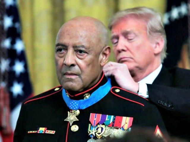 President Trump presents the Medal of Honor to U.S. Marine Corps retired Sgt. Maj. John Canley, during an East Room ceremony at the White House in Washington on Oct. 17, 2018. Canley who received the honor because of his actions in Vietnam is the 300th Marine to receive the nation's …