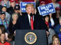 US President Donald Trump speaks during a 'Make America Great' rally in Missoula, Montana, on October 18, 2018. (Photo by Nicholas Kamm / AFP) (Photo credit should read NICHOLAS KAMM/AFP/Getty Images)