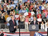 U.S. Congressman Lou Barletta, right, speaks beside President Donald Trump at a rally endorsing the Republican ticket in Pennsylvania on Wednesday, Oct. 10, 2018 in Erie, Pa.