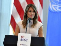 US First Lady Melania Trump hosts a reception for spouses of visiting heads of State and others at the US Mission to the United Nations in New York on September 26, 2018. (Photo by MANDEL NGAN / AFP) (Photo credit should read MANDEL NGAN/AFP/Getty Images)