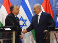 Hungarian Prime Minister Viktor Orban (L) shake hands with Israeli Prime Minister Benjamin Netanyahu ( R ) on during joint statements at the prime minister's office in Jerusalem, Israel, July 19, 2018. - Hungarian Prime Minister Viktor Orban advocated 'zero tolerance' against anti-Semitism, at the start of his controversial visit …