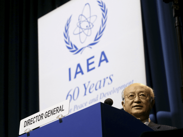 Director General of the International Atomic Energy Agency, IAEA, Yukiya Amano of Japan delivers a speech during the opening of the general conference of the IAEA, in Vienna, Austria, Monday, Sept. 18, 2017. (AP Photo/Ronald Zak)