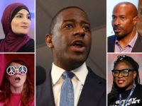 Andrew Gillum (C) and other graduates of the Rockwood Leadership Institute: Linda Sarsour (top left), Van Jones (top right), Alicia Garza (bottom right), and Jodie Evans (bottom left).