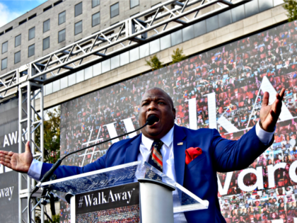 Pastor Mark Burns pumped up the crowd when he spoke on Saturday at the #WalkAway rally in Washington, DC.