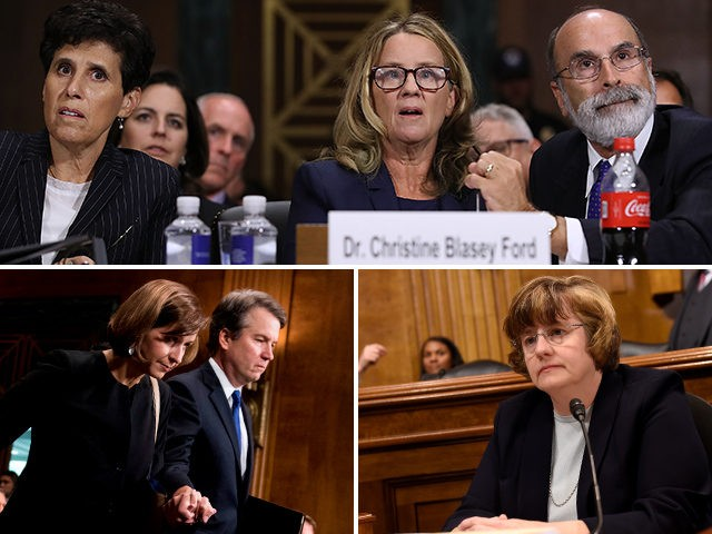 Christine Blasey Ford, Debra Katz, Michael Bromwich, Ashley Kavanaugh, Brett Kavanaugh, and Rachel Mitchell.