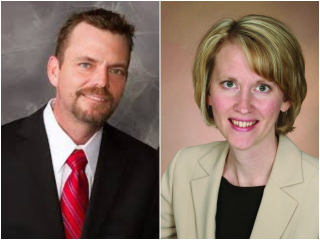Combo photo of Rep. Sarah Anderson and candidate Shane Mekeland