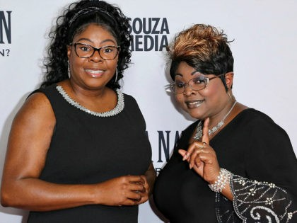 "Lynnette Hardaway, left, and Rochelle Richardson a.k.a. Diamond and Silk arrive at the LA Premiere of ""Death of a Nation"" at the Regal Cinemas at L.A. Live on Monday, July 31, 2018, in Los Angeles. (Photo by Willy Sanjuan/Invision/AP)"