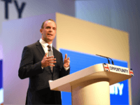 Secretary of State for Exiting the European Union Dominic Raab speaks during day two of the annual Conservative Party Conference on October 1, 2018 in Birmingham, England. (Photo by Jeff J Mitchell/Getty Images)