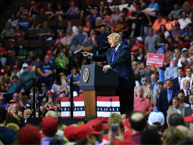 US President Donald Trump speaks during a 'Make America Great Again' rally at Landers Center in Southaven, Mississippi, on October 2, 2018. (Photo by MANDEL NGAN / AFP) (Photo credit should read MANDEL NGAN/AFP/Getty Images)