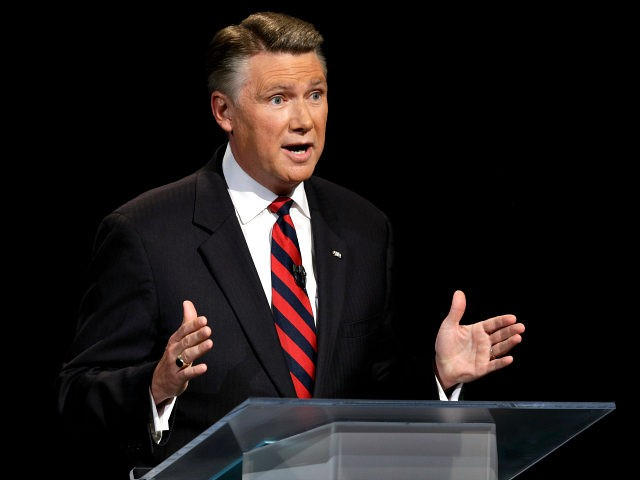 Republican senatorial candidate Mark Harris speaks during a live televised debate at UNC-TV studios in Research Triangle Park, N.C., Monday, April 28, 2014. (AP Photo/ Pool)