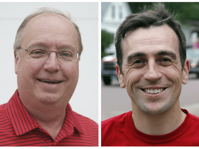 FILE - This combination of June 10, 2018, file photos show Minnesota congressional candidates from left, Republican Jim Hagedorn and Democrat Dan Feehan posing before a parade in Waterville, Minn. Hagedorn and Feehan are scheduled to debate Friday, Oct. 12, in St. Paul in their race for Minnesota's 1st District …