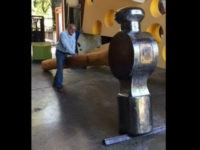 A California community is trying to recover a massive 800-pound hammer sculpture after it mysteriously went missing without a trace Friday night.
