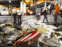 Wreckage from Lion Air flight JT 610 lies at the Tanjung Priok port on October 29, 2018 in Jakarta, Indonesia. Lion Air Flight JT 610 crashed shortly after take-off with no sign so far of survivors among the 189 people on board the plane. (Photo by Ed Wray/Getty Images)