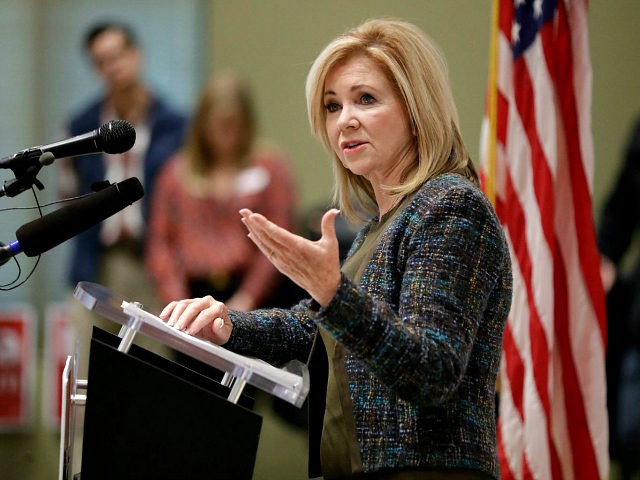 Republican Senate hopeful Marsha Blackburn speaks during a campaign stop Wednesday, Oct. 17, 2018, in Franklin, Tenn. Wednesday is the first day of Tennessee's early voting. (AP Photo/Mark Humphrey)