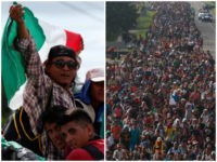 Central American migrants making their way to the U.S. in a large caravan wave a Mexican flag as they arrive to Tapachula, Mexico, after a truck driver gave them a free ride, Sunday, Oct. 21, 2018. Despite Mexican efforts to stop them at the Guatemala-Mexico border, about 5,000 Central American …