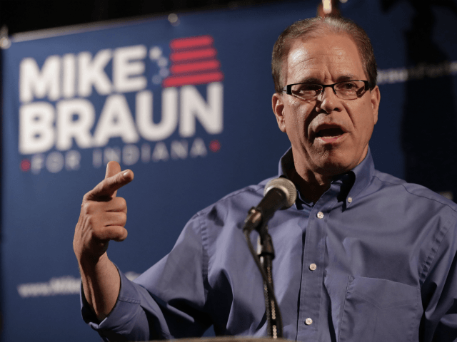 Republican Senate candidate Mike Braun thanks supporters after winning the republican primary in Whitestown, Ind., Tuesday, May 8, 2018. Braun faced Todd Rokita and Luke Messer in the Republican primary race. Braun advances to a November matchup with Democrat Joe Donnelly, who is considered one of the Senate's most vulnerable …