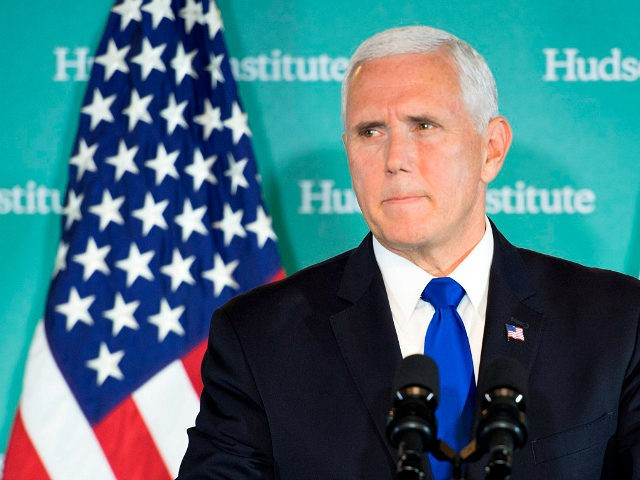 US Vice President Mike Pence addresses the Hudson Institute on the administration's policy towards China in Washington, DC, on October 4, 2018. - Pence on Thursday accused China of seeking a change of power in the White House, stepping up allegations of electoral interference. (Photo by Jim WATSON / AFP) …