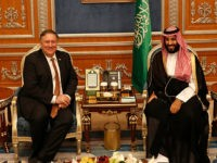 U.S. Secretary of State Mike Pompeo meets with the Saudi Crown Prince Mohammed bin Salman under a portrait of Saudi King Salman, in Riyadh, Saudi Arabia, Tuesday Oct. 16, 2018. Pompeo also met on Tuesday with the king over the disappearance and alleged slaying of Saudi writer Jamal Khashoggi, who …