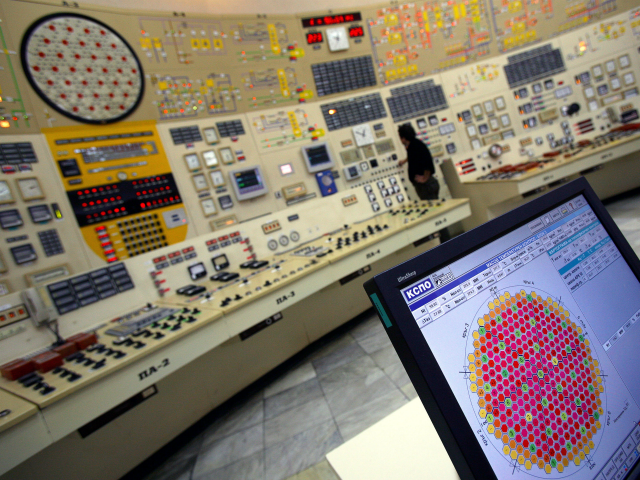This file picture taken on December 18, 2006 shows a control panel operator working in the command room of unit 3 of Bulgaria's only nuclear power plant near the town of Kozloduy, 200km north of Sofia. Cracks were detected in components of a reactor at Bulgaria's Kozloduy nuclear plant during …