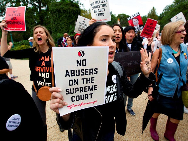 Demonstrators protest against the appointment of Supreme Court nominee Brett Kavanaugh outside of the US Supreme Court in Washington DC, on September 27, 2018. - Donald Trump whole-heartedly backed Brett Kavanaugh, whose Supreme Court nomination will be put to an initial vote on September 28, after a dramatic Senate hearing …