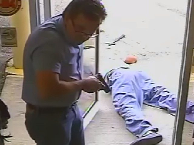 Surveillance video released October 15 shows Lake City, Florida, city commissioner Michael Dunn shooting and killing a suspected thief at the Vets Army Navy Surplus store.