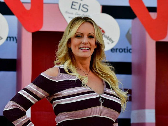 Stormy Daniels, the porn star who claims to have slept with US President Donald Trump over a decade ago, opens Berlin erotic fair 'Venus' in Berlin on October 11, 2018. (Photo by Tobias SCHWARZ / AFP) (Photo credit should read TOBIAS SCHWARZ/AFP/Getty Images)