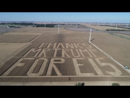 PHOTO: Indiana Farmers Cut 60-Acre 'Thank You' to Trump for Ethanol Decision