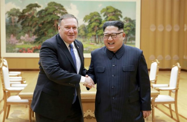 US Secretary of State Mike Pompeo, left, is preparing his fourth trip to North Korea, where he will meet leader Kim Jong Un