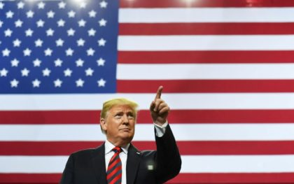 US President Donald Trump is pictured at a rally in Springfield, Missouri on September 21, 2018. Missouri was left Wednesday with one abortion clinic for its population of six million