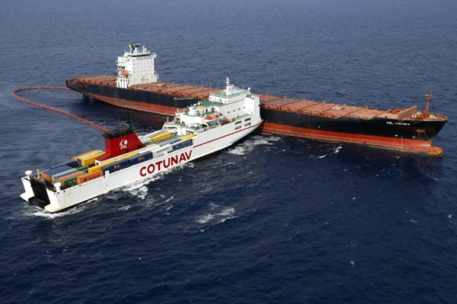 Ships locked together after Mediterranean collision break free