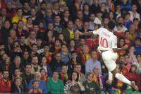 England's Raheem Sterling celebrates after scoring against Spain