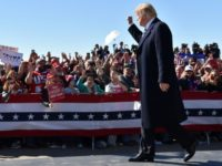 US President Donald Trump greets supports at rally in Elko, Nevada on October 20, 2018