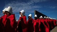 "Activists in Argentina wear the ""Handmaid's Tale"" costume in August 2018 to protest the legalization of abortion"