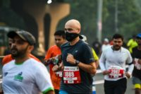 Indian runners took to the streets for the New Delhi half marathon Sunday, despite warnings over pollution levels