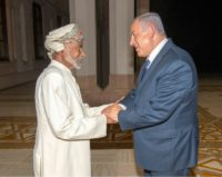 A handout picture released by the Omani Royal Palace on October 26, 2018 shows Sultan Qaboos (L) meeting Israeli Prime Minister Benjamin Netanyahu in the capital Muscat