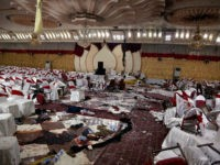 Inside of a wedding hall in Kabul, Afghanistan, is seen Wednesday, Nov. 21, 2018, a day after a suicide attack. A suicide bomber was able to sneak into the wedding hall where hundreds of Muslim religious scholars and clerics had gathered to mark the birthday of the Prophet Muhammad. (AP …