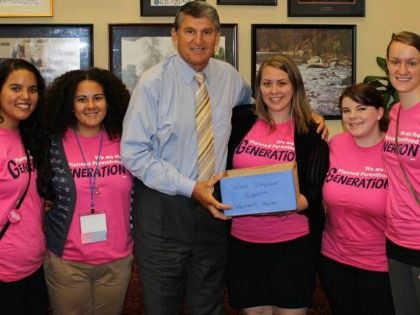 Sen. Joe Manchin with pro-abortion Planned Parenthood supporters
