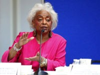 FILE- In this Nov. 12, 2018 file photos, Broward County Supervisor of Elections Brenda Snipes answers questions at the Supervisor of Elections office in Lauderhill, Fla. Snipes is a target for the GOP, including former Gov. Jeb Bush, who appointed her to the post in 2003. Snipes, a Democrat, has …