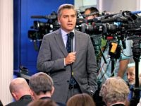 FILE - In this Aug. 2, 2018 file photo, CNN correspondent Jim Acosta does a stand up before the daily press briefing at the White House in Washington. Acosta says President Donald Trump's attacks on the media must stop or there's a risk someone will get hurt. He is one …
