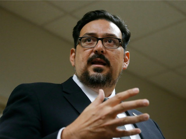 Maricopa County Recorder Adrian Fontes answers a question during a news conference regarding the most recent 2018 elections in the county Wednesday, Sept. 12, 2018, in Phoenix. (AP Photo/Ross D. Franklin)