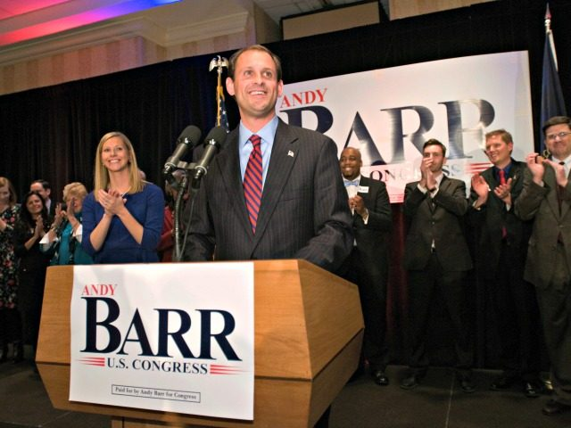 Barr 2012 Republican Andy Barr and his wife, Carol, left, address supporters Tuesday, Nov. 6, 2012 at the Marriott Griffin Gate in Lexington, Ky., to claim Kentucky's 6th Congressional District win from the incumbent, U.S. Rep. Ben Chandler, a Democrat.