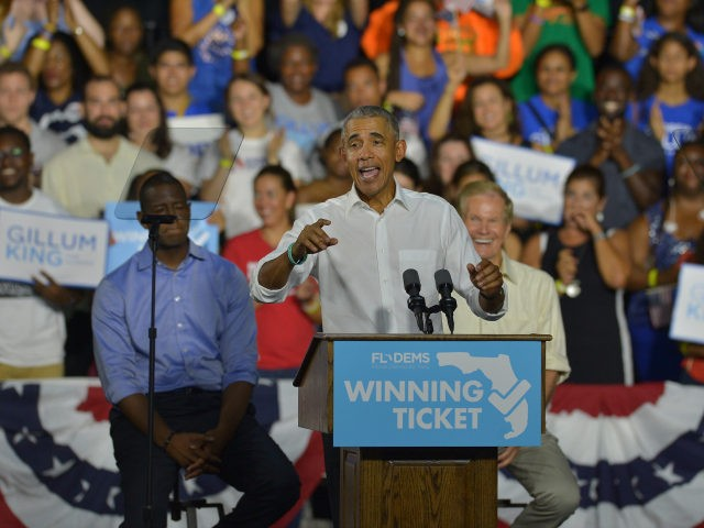 Former U.S. President Barack Obama speaks during a rally to support Florida Democratic gubernatorial candidate Andrew Gillum and U.S. Senator Bill Nelson (D-FL) at the Ice Palace film studios on November 02, 2018 in Miami, Florida. Senator Nelson (D-FL) and candidate Andrew Gillum are in tight races against their Republican …