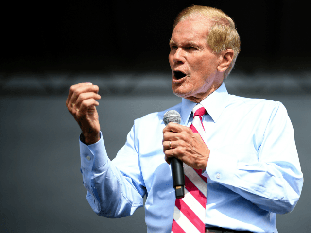 Senator Bill Nelson campaigns at the 65th Infantry Veterans Park on November 4, 2018 in Kissimmee Florida. Mr. Nelson is facing off against Republican Florida Governor Rick Scott for the Florida Senate seat. (Photo by Jeff J Mitchell/Getty Images)